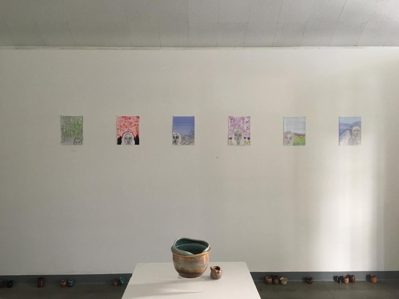 Ingrid Sant's visual art and Halle Jacobs' pottery in their show