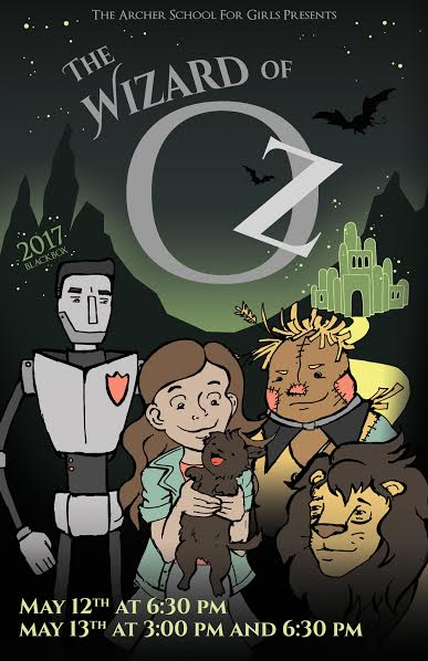 This was the poster for the middle school musical, The Wizard of Oz. This show included girls in all grades of middle school. This cover artwork was done by Kisa Rozenbaoum.