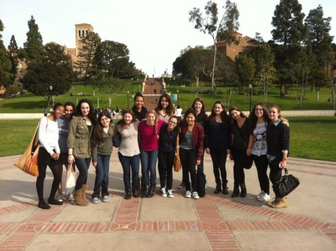 The research class poses on the UCLA campus before going on their tour.