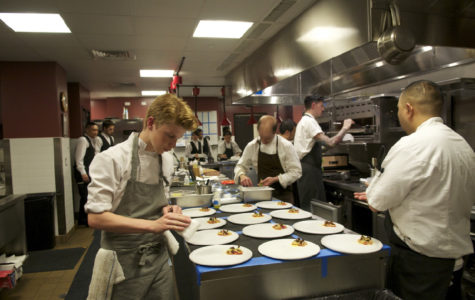 Flynn McGarry cooks at the Vintage Cave Collaboration dinner with Chef Chris Kajioka and Pastry Chef Matt Tinder. Photo courtesy of McGarry's official website: http://www.diningwithflynn.com/