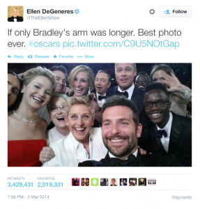 Ellen DeGeneres twitter. Taken by: Bradley Cooper. Courtesy of: Twitter