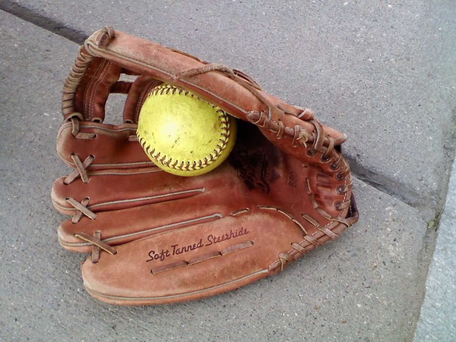 Softball mitt ready and waiting for the next inning. Photographer: Rosemary Pastron '16.