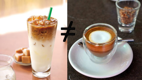 Two competing macchiatos.  One photo from the Starbucks website, the other from Wikimedia Commons, a freely licensed Media file repository.