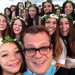 One of Dean Reed Farley's selfies with the class of 2014. Obtained from Head of School Elizabeth English's public Twitter account.