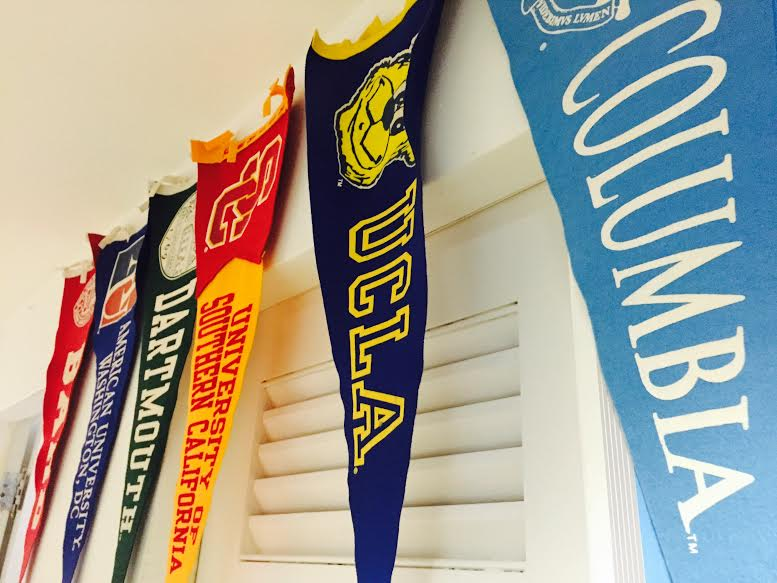 Pennants can be found in the college guidance hallway at the Archer School for Girls. The pennants represent the colleges where students from the Class of 2013 and 2014 currently attend.  Photographer: Syd Stone '16