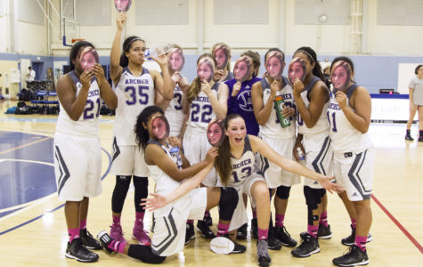 The team posing after their victory.  They held up signs of Rachel Magnin's '15 face in support of her basketball achievements.  Photographer: Shishi Shomloo '15