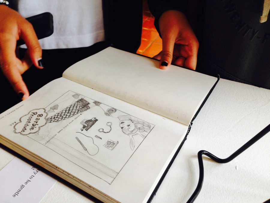 One of Johnson's drawings  from the show. The drawing was displayed in her sketch book. Photographer: Syd Stone '16