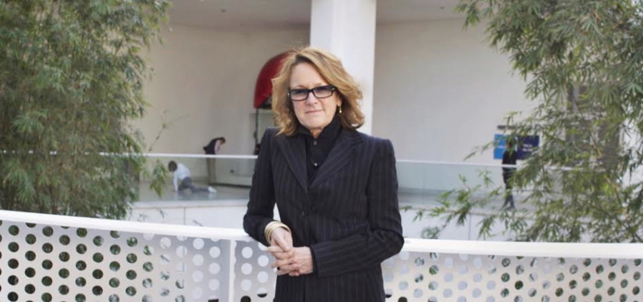 Ann Philbin standing outside the Hammer Museum. Philbin is the first female director of the museum and has been in the position since 1999.