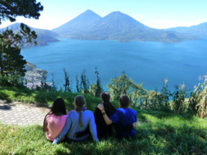 Archer students look into the distance at the volcanoes of Lake Atitlán in Guatemala during their trip in November 2013. Photo used with permission from Syd Stone '16.