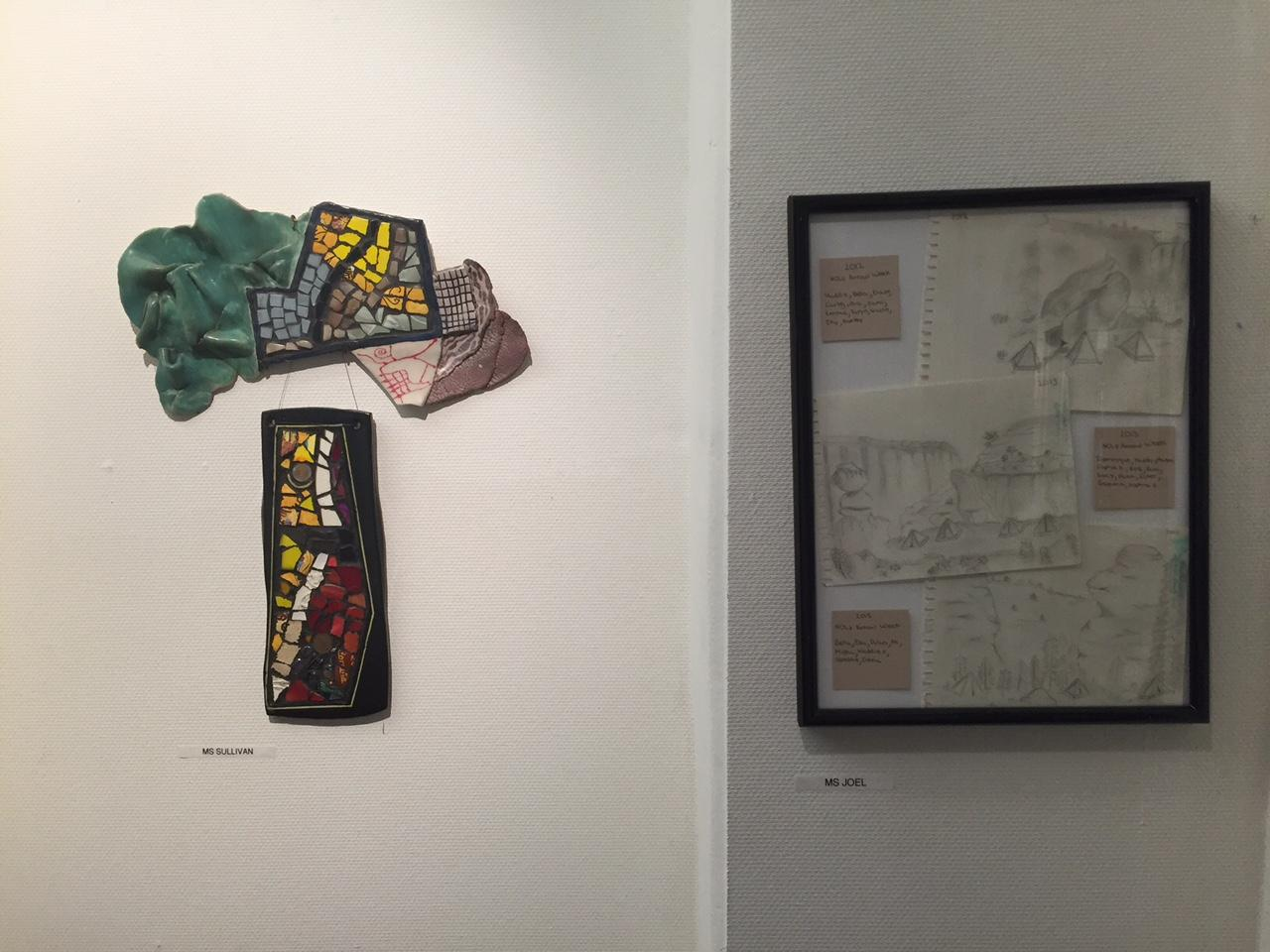 There are also drawings and sculptures along the walls of the gallery, such as Sue Sullivan and Jerilyn Joel's pieces.