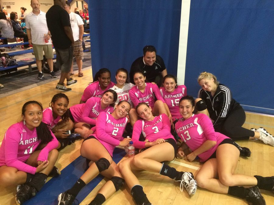 The Archer Varsity Volleyball team poses for a photo after taking first place at Milken's Dig Pink Volleyball Tournament. Photo courtesy of Marlee Rice