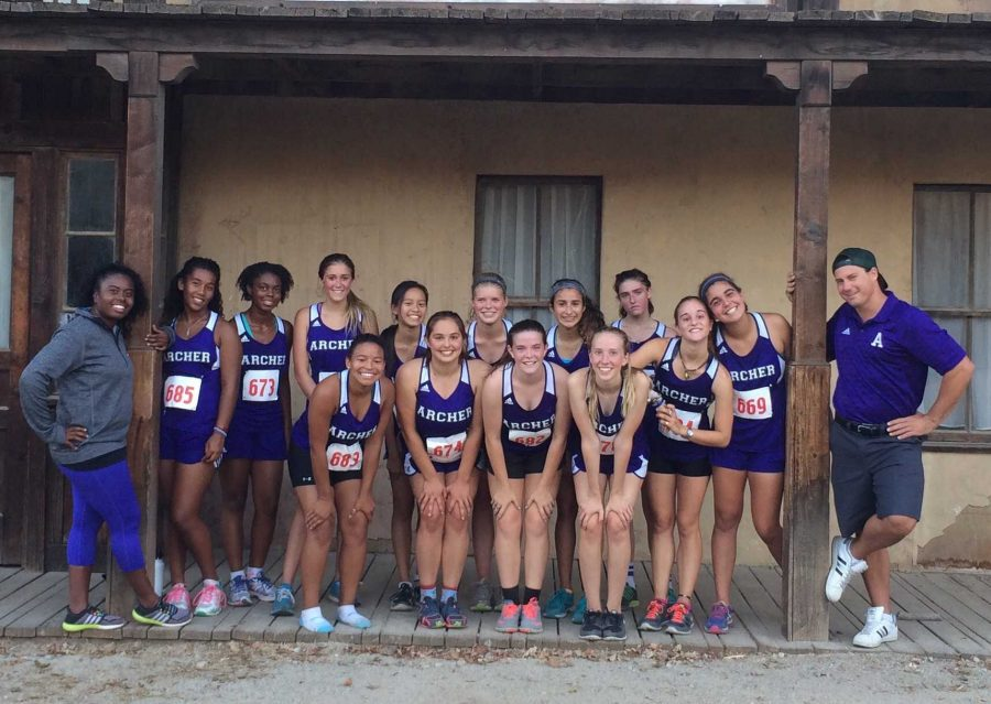 The+Varsity+Cross+Country+team+poses+with+their+coaches+at+Paramount+Ranch+after+one+of+their+meets.+Leyla+Namazie+%2717+won+third+place+at+this+race.+Photo+courtesy+of+Alison+Kiley+%2716.