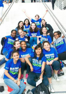 Girls attend WE Day in San Jose, California. The only way to get a ticker into the event is by earning you way through community service. Photographer: Livia Blum '19.