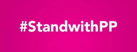 A #standwithPP sign.  The campaign #standwithPP went viral as social media users shared their support for Planned Parenthood online.  Photo from NARAL Massachusetts website.