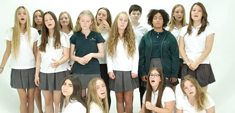 A still from the Unaccompanied Minors' submission to the Macy's All-School A Cappella Challenge.The Unaccompanied Minors consists of 15 Upper Schoolers who auditioned to be a part of the group. They participate in a cappella competitions and perform during special events held on Archer's campus. Photo courtesy of The Unaccompanied Minors