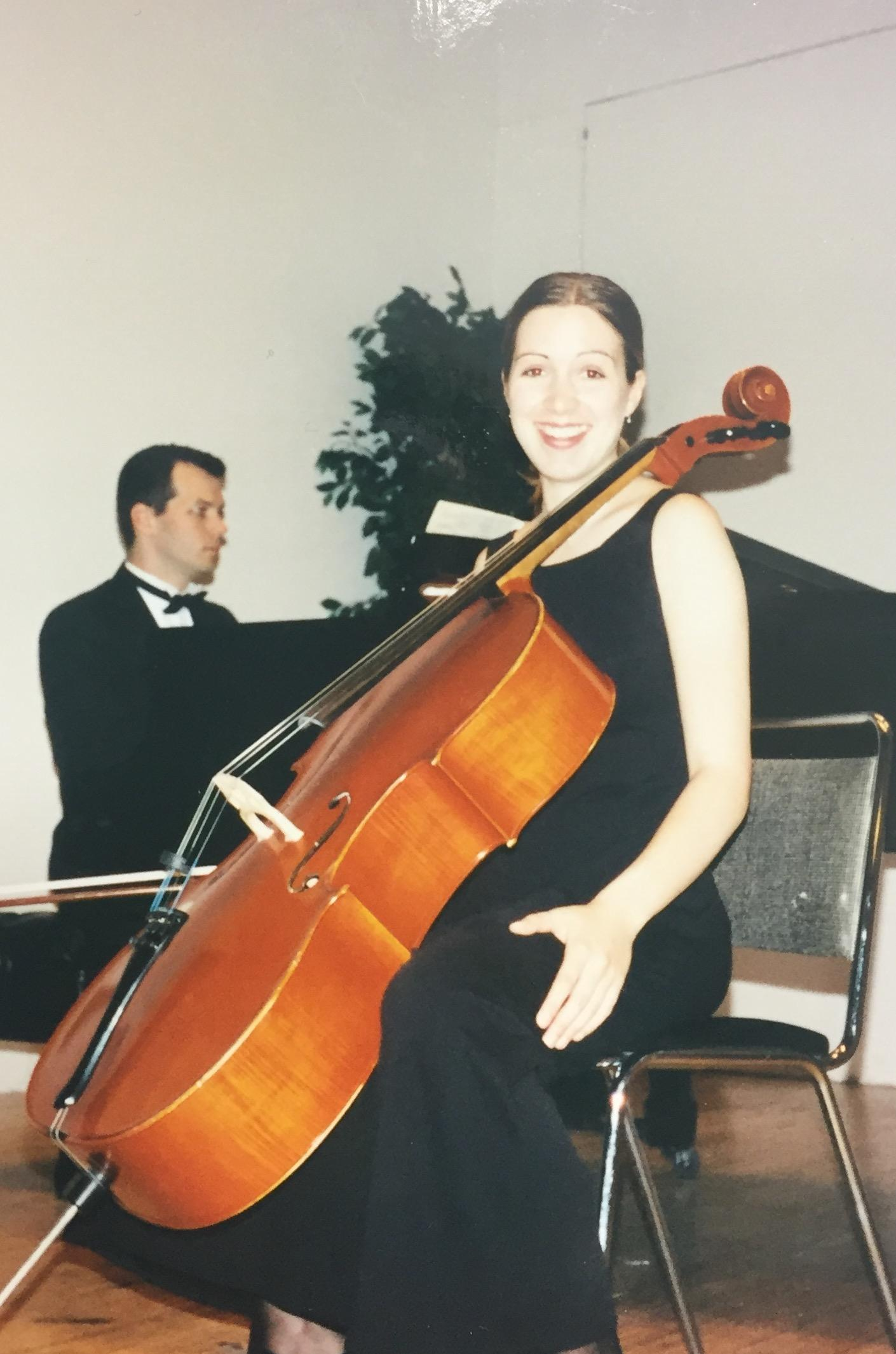 Smith performing on the cello during a recital in her early life. Used with curtesy of Susan Smith.