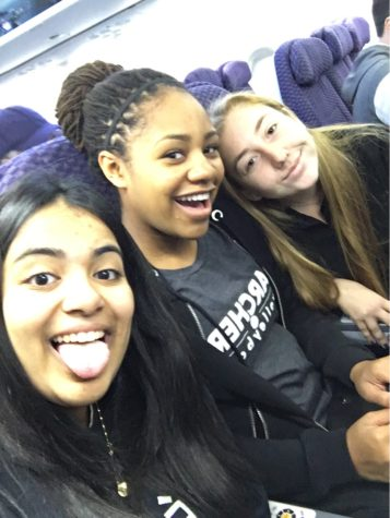 "Bhavnani, Davis, and Simanowitz on the plane before the conference. ""My favorite part of the conference was the affinity groups,"" said Bhavnani."