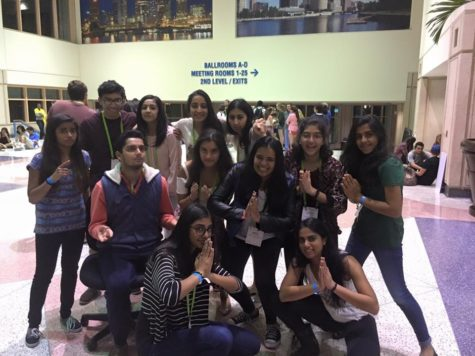Bhavnani '17 poses with her affinity group. This was the South-Asian affinity group, or as they called themselves,