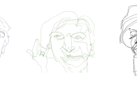 A series of blind contour drawings created by Leandra Ramlo '16 for her 100 days of ARTcher project. Ramlo's drawings feature classmates and real-life friends as well as celebrities and cultural icons such as Donald Trump, Betty White, and Snoop Dogg, pictured above. Image used with permission from Ramlo.