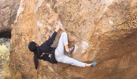 Elizabeth Endo '18 climbing in Bishop, CA. She has won five regional championships and one divisional championship. Photograph courtesy of Endo.