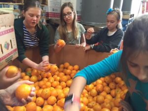 6th-graders sort oranges at the Westside Food Bank to give back. The Westside Food Bank supplies food to the food assistance programs of social service agencies in Santa Monica, Venice, Culver City, West Los Angeles, West Hollywood, Inglewood, and the LAX area. Photo courtesy of Theresa Dahlin.