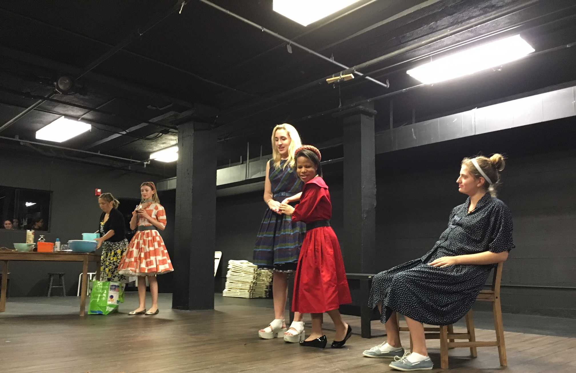 Drama Queens women in '50s comedy performance with special guest star Samantha Coyne. From right to left: Sara Friedman '18, Jayla Brown '18, Harley Smith '17, Uma Halsted '18, and Ms. Coyne.