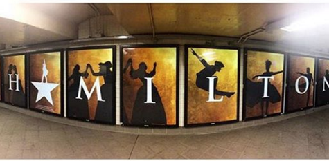 The Columbus Circle subway station showcases Hamilton's posters. Hamilton, a new musical, has gained immense publicity and become a cultural phenomenon. Photo source: <a href=