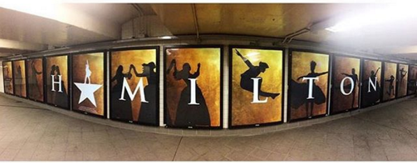 The Columbus Circle subway station showcases Hamilton's posters. Hamilton, a new musical, has gained immense publicity and become a cultural phenomenon. Photo source: The Official Hamilton Instagram.