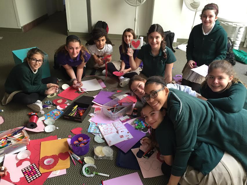 Middle Schoolers take part in Community Service Daybreak activity making Valentines for a retirement home. Photo by Theresa Dahlin