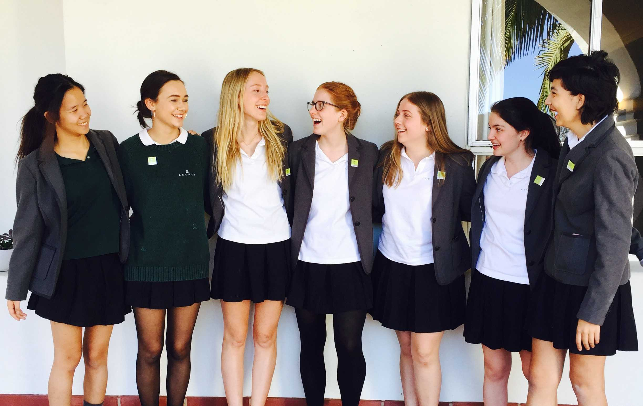 Archer seniors pose for a picture in their formal uniforms designed by Lands' End. The company is under fire by both conservatives and liberals after publishing a feature on Gloria Steinem in their catalogue. Photo courtesy of Syd Stone '16.