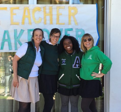 Teachers from left to right, Valerie Yoshimura, Meg Shirk, Amelia Mathis and Hanna Shohfi, dress as students for Spirit Week. At Archer, teachers are expected to participate outside the classroom too; Many coach sports, attend NOLS trips and advise clubs.