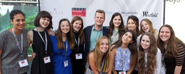The 2014-2015 advanced film class pose together at the Film Festival last year. Photo courtesy of Alex Sherman '17.