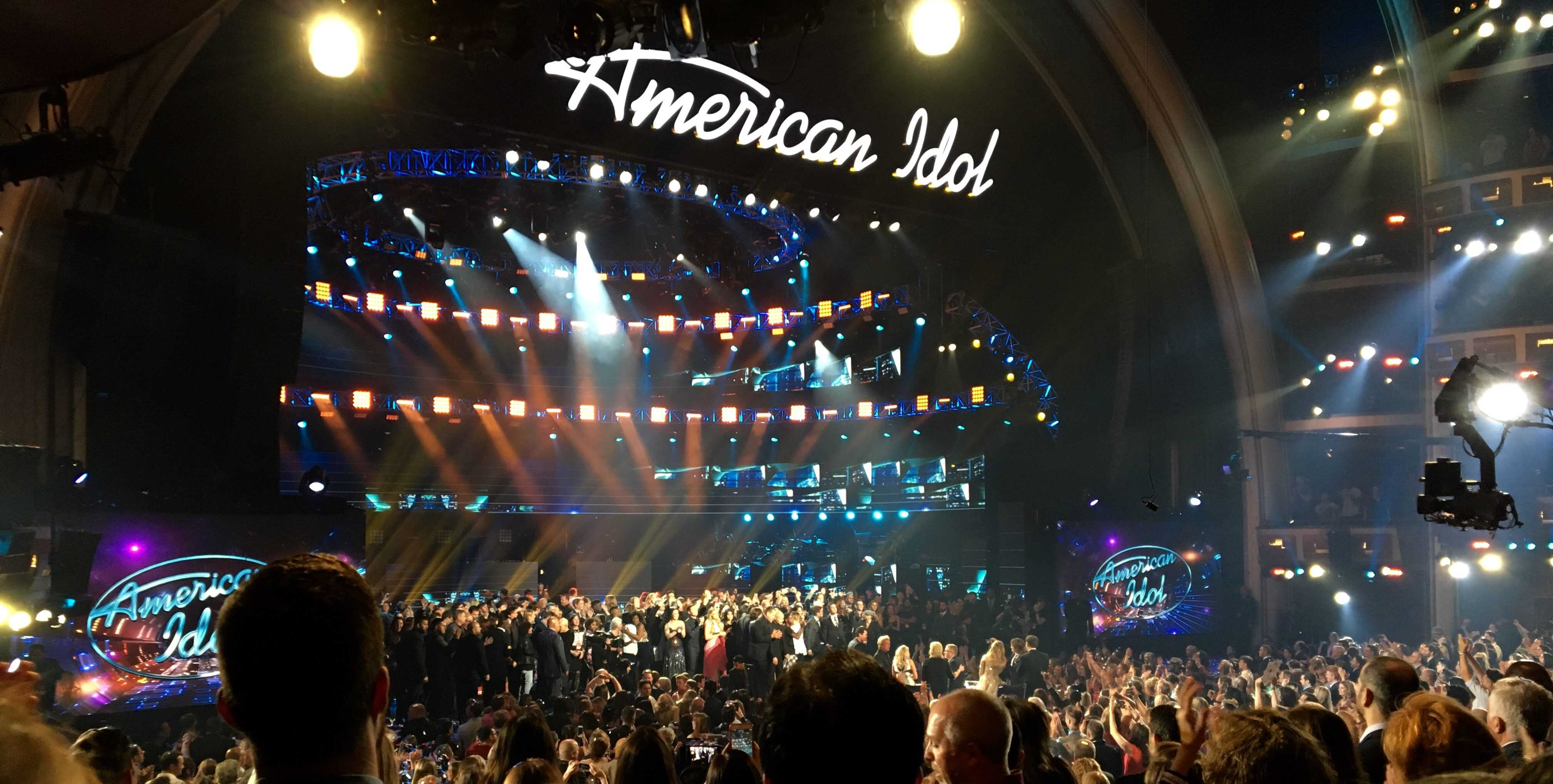The crowd in The Dolby Theatre cheers for Trent Harmon, who won the 15th season of