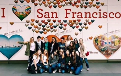 Members of Archer's a cappella group, The Unacompanied Minors, pose for a picture in San Fransico. San Fransisco was the first of two stops on their February tour. Photo courtesy of Alexandra Sherman '17.