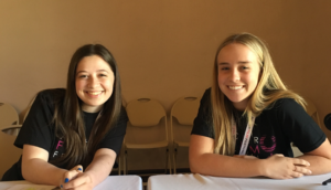 "Juniors, Billie Wakeham and Alex Sherman before they monitored the ""Women in Film Panel."" Both Sherman and Wakeham were on the leadership team for the festival this year. Photo by: Anika Bhavnani '17"