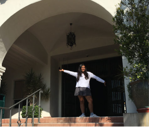 Anika Bhavnani '17 poses in front of The Archer School for Girls. Bhavnani is Editor-In-Chief of The Oracle for the 2016-2017 school year.