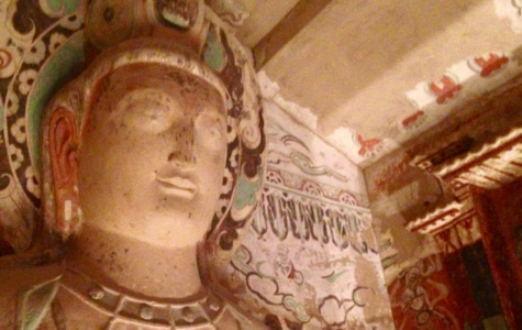 A large statue of a buddha was replicated and placed in the Getty Center's replica of Cave 275. The real cave is located in the Mogao Grottoes outside of Dunhuang, China.