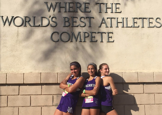 Senior captains from left to right, Rachel Pike, Leyla Namazie and Kaia Turowski pose at the 2015 Mt. SAC meet. All three are multi-sport athletes. Image courtesy of Amelia Mathis.
