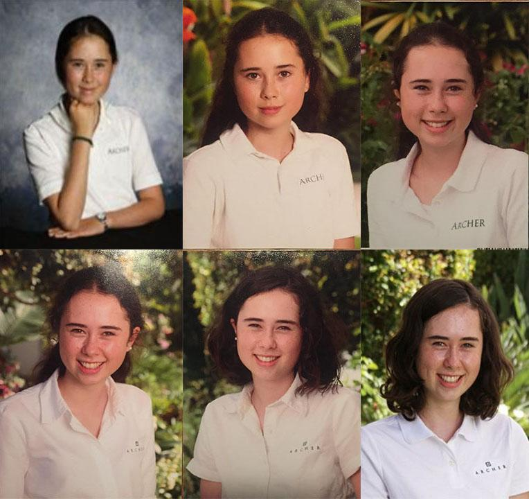 A collage of senior Isabel Adler's One Card photos throughout her years at Archer.