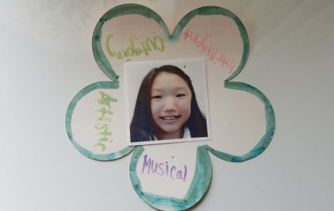 This flower is from an activity sixth graders had to complete. They had to write different adjectives on each petal that describe themselves. This is one of the few memories senior Audrey Koh has from sixth grade; she has it pinned to her fridge.