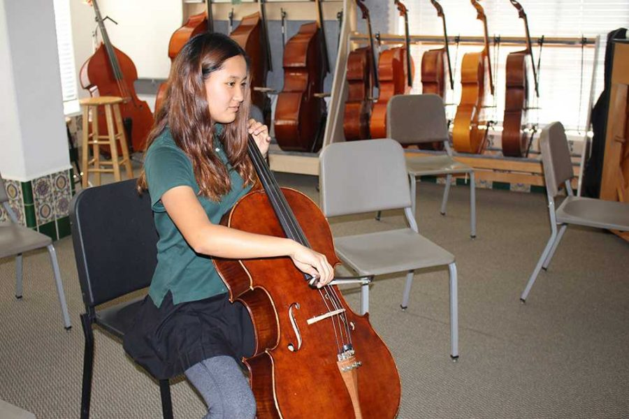 During lunch, Hannah Kim '20 plays her cello in the Orchestra room. Hannah is in the Archer Orchestra and a community service orchestra. She recently won a completion and earned a spot in Wesley's youth orchestra.