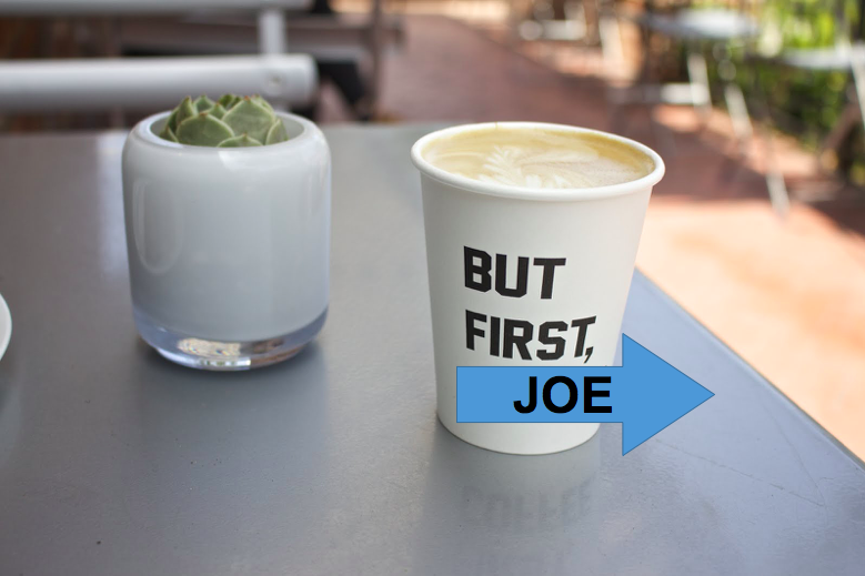 A latte from Alfred Coffee with the photoshopped word