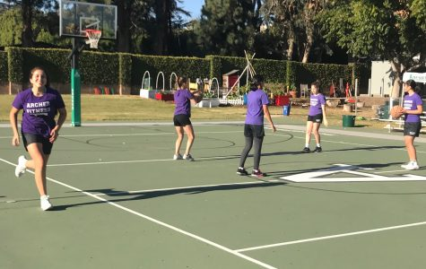 Middle schoolers run and play basketball on the Sport Court during fitness class. In addition to after school sports, the Court is used for daily fitness classes.