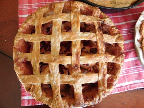 My gingered cranberry apple pie with a lattice top made for Thanksgiving. After you get the hang of making crusts, get fancy and try something creative like this.