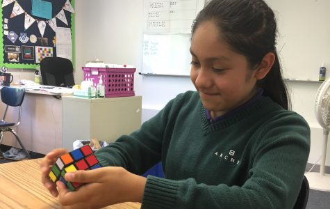 Archer girls brainstorm, create first Rubik's Cube mosaic challenge design