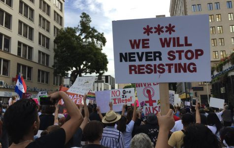 Protesters rally against Trump's election at a Nov. 12 protest in downtown Los Angeles. Around 15 Archer students attended this rally as a way to voice their political beliefs. Photo courtesy of Anabel Robertson '17