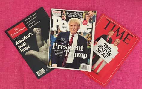 Recent magazine covers about the 2016 presidential election. Politics have become a constant topic of discussion for news outlets and citizens alike.