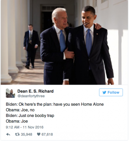 """Vice President Biden hugs President Obama at the White House. We can all imagine this conversation about """"Home Alone."""" Image source: Twitter."""