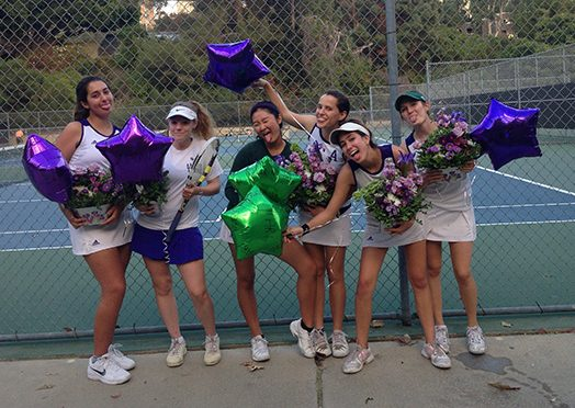 Pictured left to right: Annie Moore, Liadan Solomon, Marine Yamada, Halle Jacobs, Mari Goldberg and Sara Rabinowitz (all 17) celebrate after a match.  The team made Archer history with a trip to Round 2 of the CIF Tournament. Photo courtesy of Aya Goldberg.