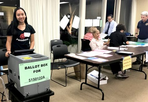 This is me, wearing my black Pasadena shirt on the far left, working the polls on election day in Pasadena, California, at the Assistance League. In the photo, I am working as the precinct ballot reader machine clerk. My tasks in this position included inserting ballots into the reader and handing out stickers.